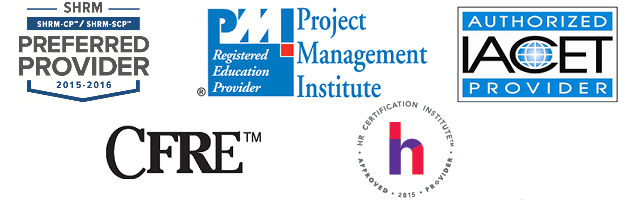 CFRE, IACET, PMI, and HR Certification Institute Logos